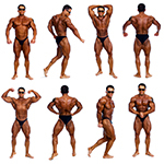 Attractive male body builder, demonstrating contest 18 pose