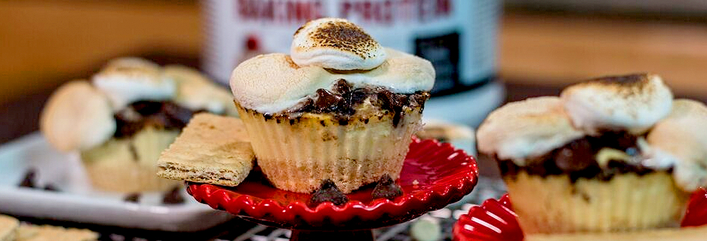 Campfire S'mores Cheesecake Protein Cupcakes