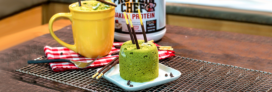 Warm Green Matcha Tea Protein Mug Cake