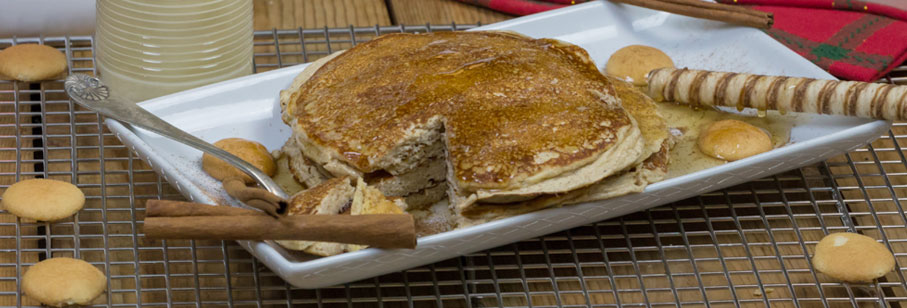 Holiday Eggnog Protein Pancakes