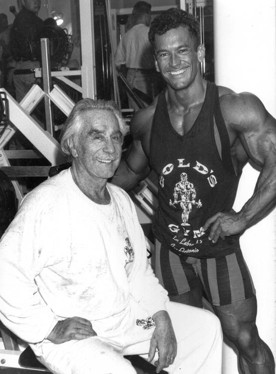 Lee with Joe Weider after a workout, circa 1992, taken in the days after the Mr.Olympia competition in Helsink, FInland.