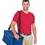 Portrait of pizza delivery man holding bag on white background