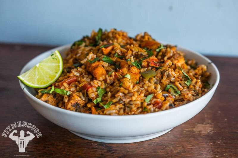 Rice Cooker Spanish Rice with Chicken and Shrimp