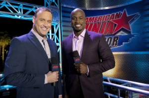 "AMERICAN NINJA WARRIOR -- ""Venice"" -- Pictured: (l-r) Matt Iseman, Akbar Gbajabiamila -- (Photo by: Brandon Hickman/NBC)"