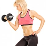 Female athlete exercising with a barbell