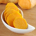 Cooked Sweet Potato Slices in White Bowl